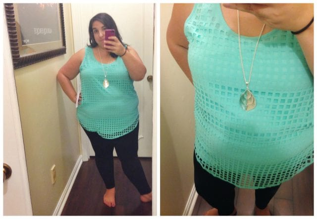 dia and co box review: Modamix Mint Square Cutout Tank Top, $69 (Gotta love a company that goes the extra mile for women who wear a size 10 and up!)