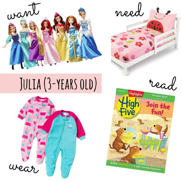 want need wear read for a 3 year old girl